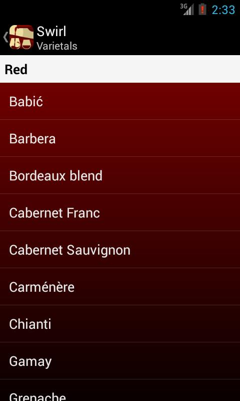 Swirl Pro - A Wine Guide- screenshot