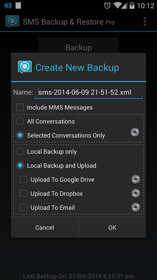 SMS Backup & Restore Pro - screenshot