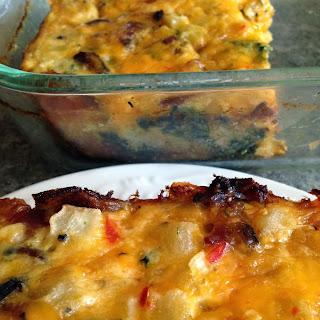 Bacon Spinach Cheese and Potato Bake