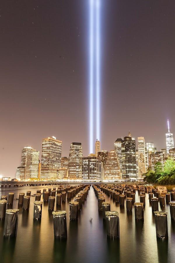 in Memory of 9/11 by Marc Brian Queyquep - City,  Street & Park  Skylines ( neverforget, worldtradecenter, brooklynbridgepark, twintowers, 911 )
