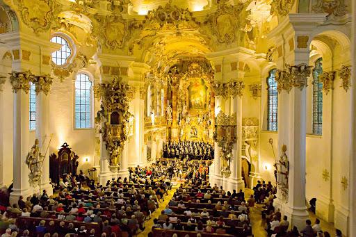 Inside Die Wies, the Pilgrimage Church of Wies near Pfaffenwinkel, Germany. It's a UNESCO World Heritage Site.