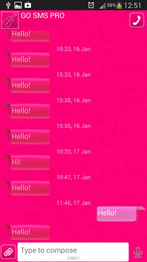 GO短信加强版粉红色辉光