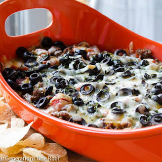 Quick 7 Layer Hot Cheese Dip.