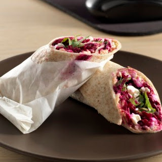 Hummus, Beet & Feta Wrap.