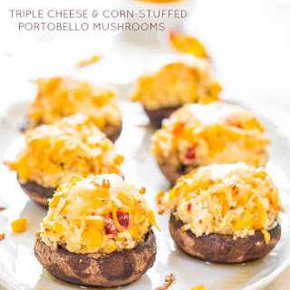 Triple Cheese and Corn-Stuffed Portobello Mushrooms