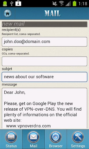 VPN over DNS screenshot for Android