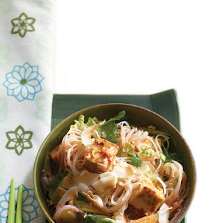 Singapore Hawker Noodles with Golden Tofu and Coconut.