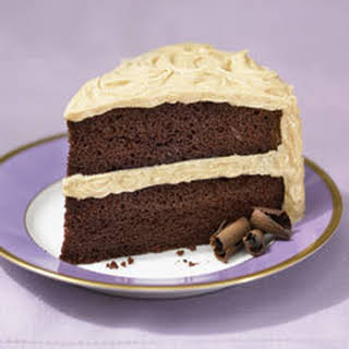 Super-moist Chocolate Cake With Fluffy Peanut Butter Frosting.