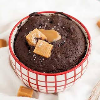 Gluten Free Salted Caramel Chocolate Mug Cake.