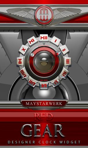 Clock Widget Red Gear