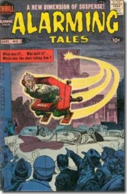 Alarming Tales #1 by Jack Kirby cover shows terrified man zooming across Manhattan in a rocket powered chair