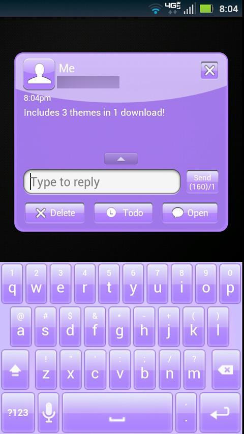 GO SMS Purple Theme- screenshot