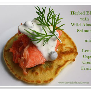Herbed Blinis with Wild Alaskan Salmon & Lemon-Caper Creme Fraiche