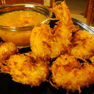 Coconut Fried Shrimp w/ Horseradish-Marmalade Sauce.