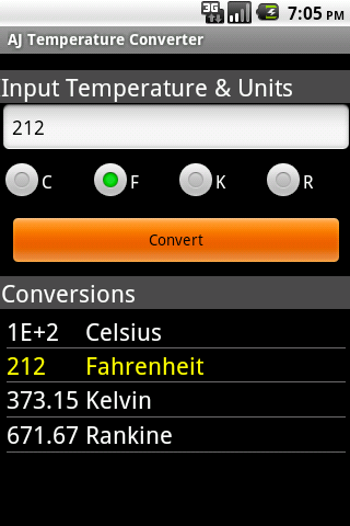 AJ Temperature Converter- screenshot
