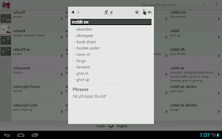 Screenshot of Dictionary Czech English