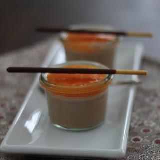 Panacotta with Milk Chocolate Vitamined Persimmon Mandarin Coulis.