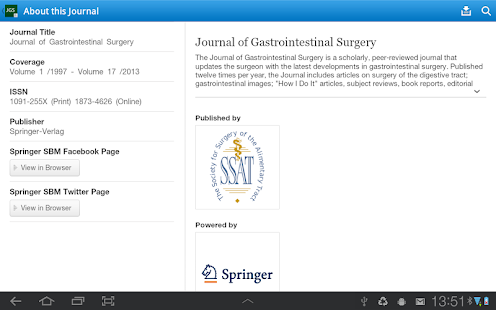 J of Gastrointestinal Surgery - screenshot thumbnail