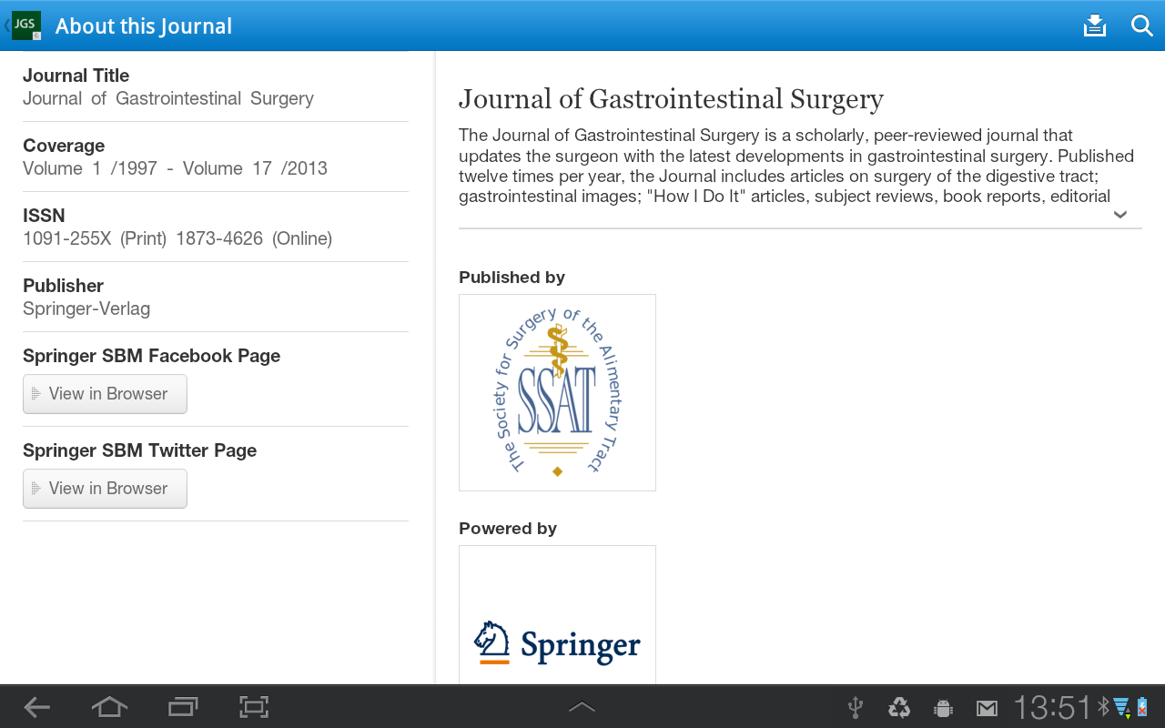 J of Gastrointestinal Surgery - screenshot