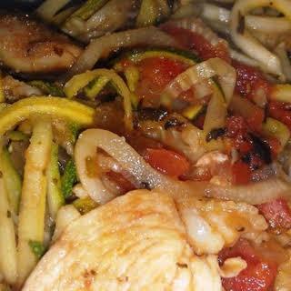 Paleo Garlic Chicken Pasta.