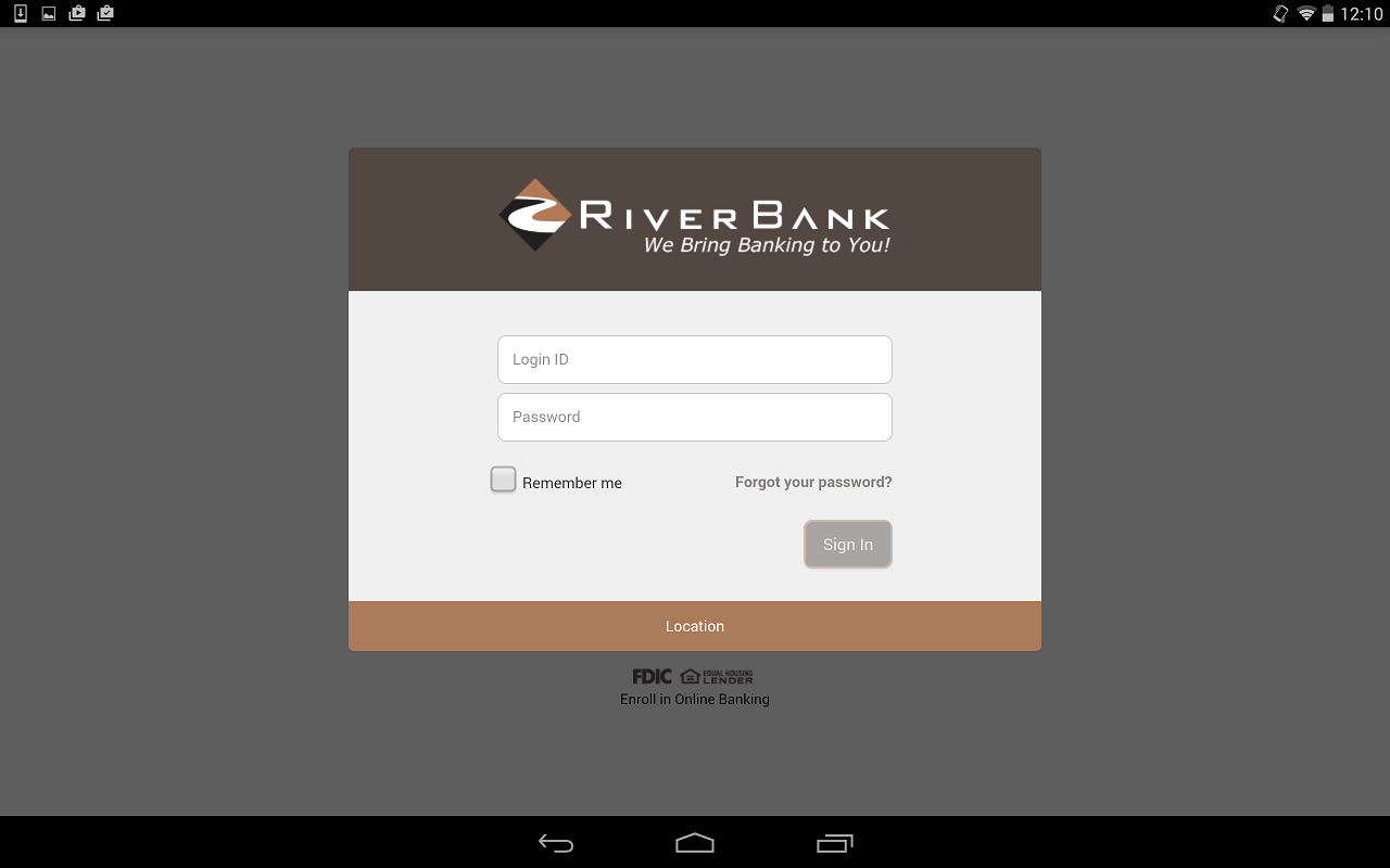 RiverBank Mobile- screenshot