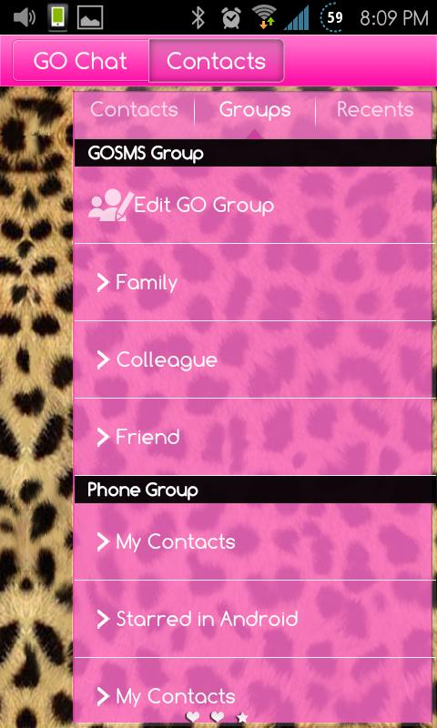 Go SMS Themes: Pink Cheetah- screenshot