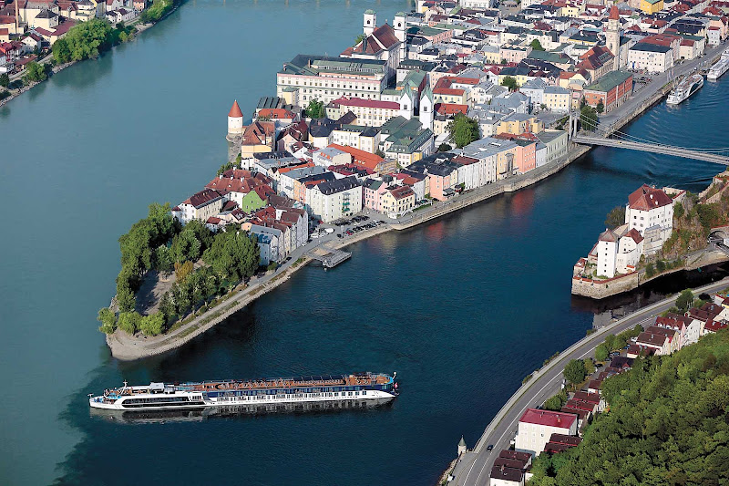 The 164-passenger AmaPrima sails through Passau in Bavaria, Germany.