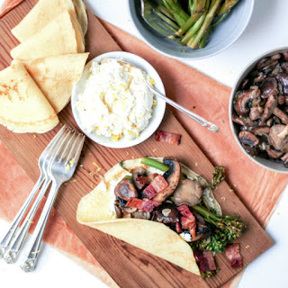 Savory Crepes with Broccolini, Mushrooms & Lemony Ricotta