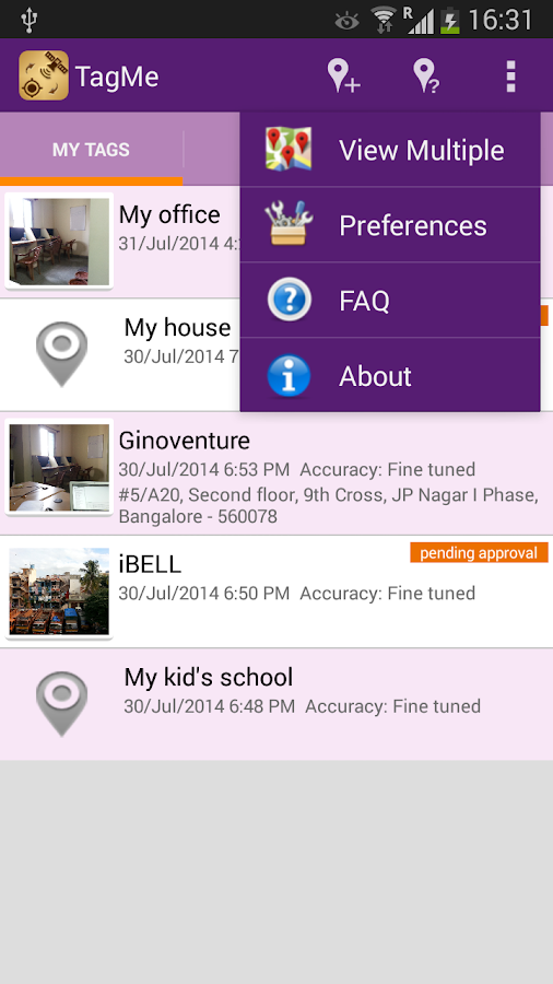 GPS Location Tagging - TagMe- screenshot