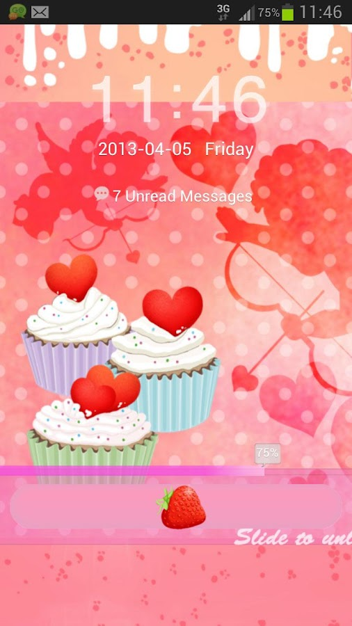 GO Locker Theme cupcake heart- screenshot