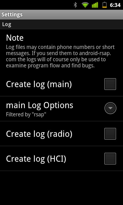 Bluetooth SIM Access Profile – Screenshot