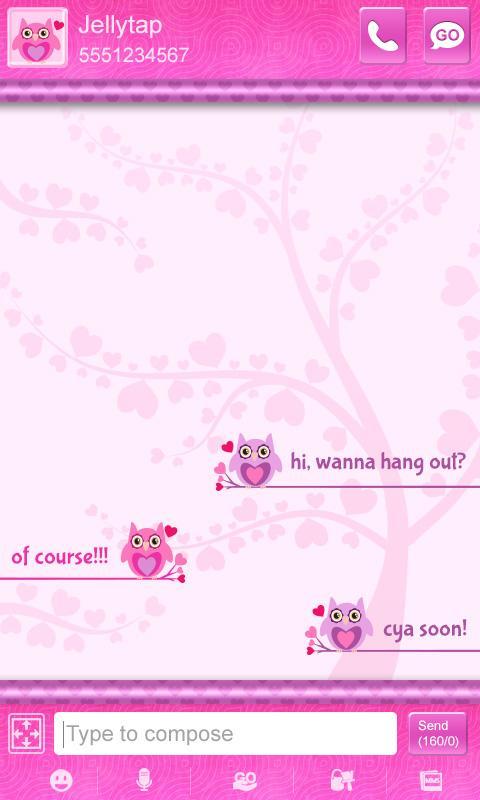 Cute Love Owls Theme Go SMS - screenshot