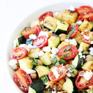Grilled Zucchini, Chickpea, Tomato, and Goat Cheese Salad.