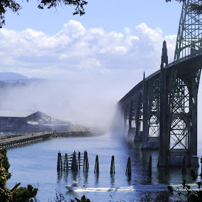 Newport, Oregon Bridge by Janet Young- Abeyta - Buildings & Architecture Bridges & Suspended Structures ( , Urban, City, Lifestyle, vertical lines, pwc )