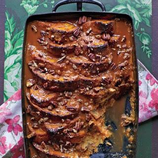 Pumpkin Bread Pudding with Dulce de Leche