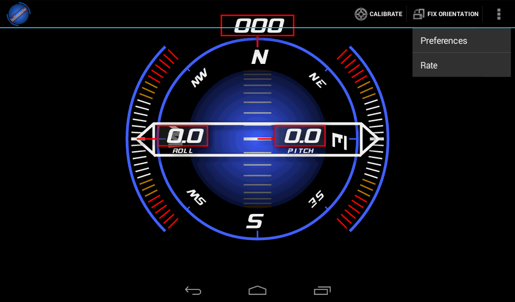 Inclinometer (+Compass)- screenshot