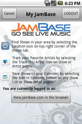 JamBase- screenshot