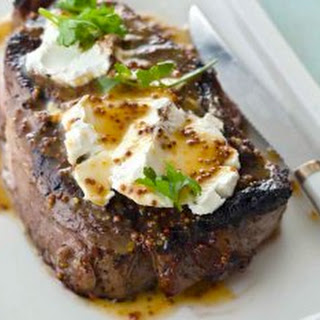 Steak Time! Ribeye With Goat Cheese And Meyer Lemon Honey Mustard.