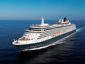 Cunard's Queen Victoria at sea. The ocean liner travels to the Caribbean, Central America, South Pacific, Mediterranean, Northern Europe and transatlantic routes.