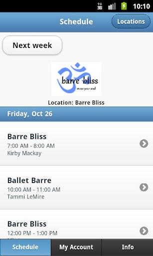 Barre Bliss Schedule App