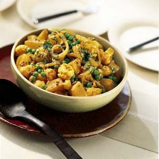 Curried Potatoes, Cauliflower and Peas.