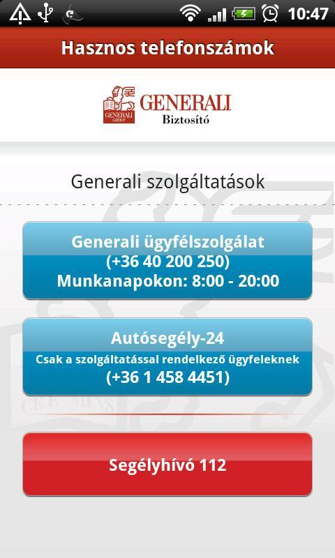 Generali Kárbejelentő- screenshot