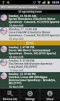 Screenshot of 2015 Nascar Series Schedule
