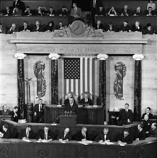 LBJ addresses a joint session of Congress.