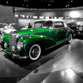 Mercedes-Benz 300S Cabriolet A 1954 by Titus Criste - Transportation Automobiles ( cabriolet, classic car, selective color, vintage, green, mercedes museum, 1954, germany, nikon, p500, mercedes, , land, device, transportation, red, vertical lines, pwc )