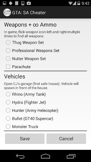 GTA San Andreas Android Cheats