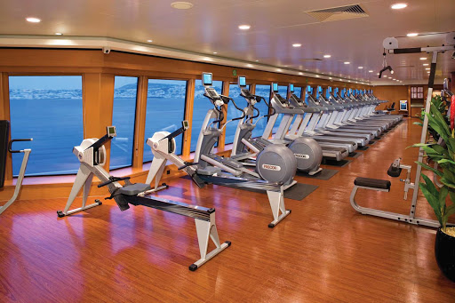 Norwegian Gem guests can keep to their workout schedule at the Body Waves Fitness Center.