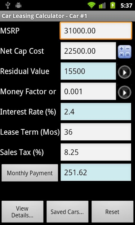 Car Lease Calculator >> Car Lease Calculator Free Android Apps Appagg