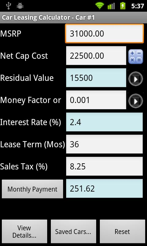 Car Lease Calculator Free - Android Apps On Google Play