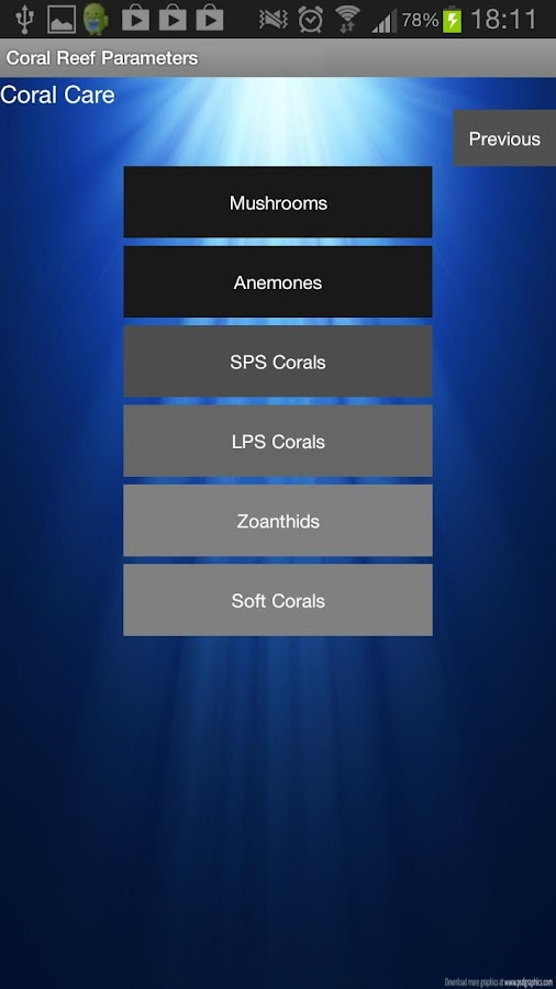 Coral Reef Parameters (2.3.3)- screenshot